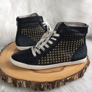 Frye high top leather back zip sneakers